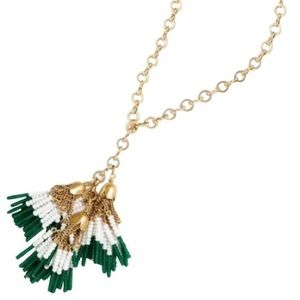 🌿 Jcrew tassel gold and beads necklace